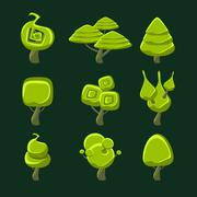 Trees With Fantastic Shape Crown Set Stock Illustration