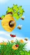 Bees and bugs flying around beehive - stock illustration