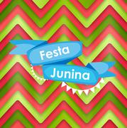 Festa Junina Holiday Background. Traditional Brazil June Festiva - stock illustration