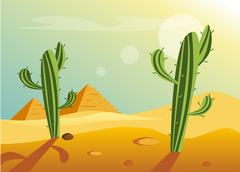 African Desert Landscape - stock illustration