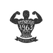 Vintage Gym Fitness Stamp Collection Stock Illustration