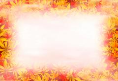 Autumn background with leafs, mist and place for text Stock Illustration