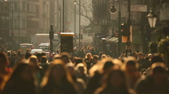 Anonymous Crowd Of People Walking On a London Street - stock footage