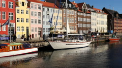 Time Lapse Zoom of Scenic Nyhavn District Day - Copenhagen Denmark Stock Footage