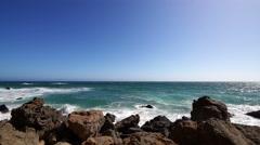 4K Rocky Shore 05 Malibu California Coastline Stock Footage