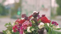 Wedding Bouquet on Car Bonnet Stock Footage
