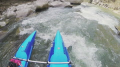 POV White water rafting. Slow motion - stock footage
