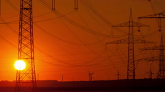 4K Sunset time lapse close up electric poles Stock Footage