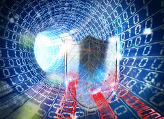 3D rendering firewall internet Stock Illustration