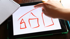 Business diagram of property, hands painting on white background houses Stock Footage