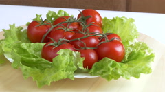 Fresh Green Salad With Tomatoes Stock Footage