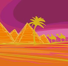 Bedouin camel caravan in wild africa landscape illustration Stock Illustration