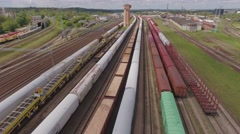 Railways depot station trains aerial view. - stock footage