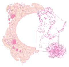 Beautiful bride card - stock illustration