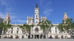 The Valencia, Spain City Hall building Stock Footage