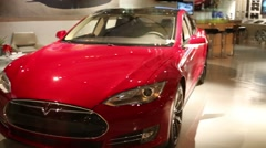 Showroom Tesla with a car at Washington, USA. Stock Footage