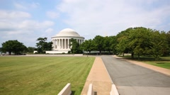Jefferson memorial with a big lawn and trees. Stock Footage