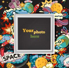 Vector space photo frame Stock Illustration