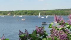 Springtime. Sailboats and motorboats on havel river next to Potsdam (Germany) Stock Footage
