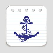 Doodle Anchor icon - stock illustration