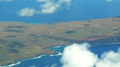 Aerial view of Volcano Rano Raraku on Easter Island Stock Footage