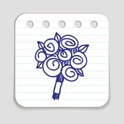 Doodle Flower Bouquet icon - stock illustration