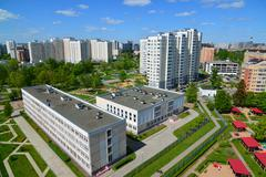 Moscow, Russia - May 13.2016. A Top view  20 district of Zelenogradwith schoo Stock Photos