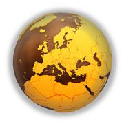 Europe on chocolate Earth - stock illustration