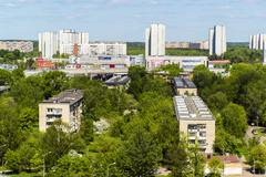 Moscow, Russia - May 13.2016. Zelenograd panorama from a height - stock photo