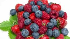 Fresh berries mixed isolated on withe Stock Footage