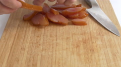 A chicken carpaccio being pieces Stock Footage