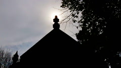 Silhouette of a old church. Stock Footage