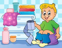 Boy on potty theme image - eps10 vector illustration. - stock illustration