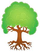 Tree with roots theme image - eps10 vector illustration. - stock illustration