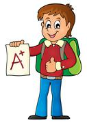 School boy with A plus grade theme - eps10 vector illustration. - stock illustration