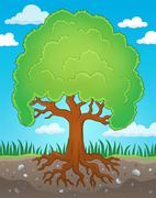 Tree with roots theme image - eps10 vector illustration. Stock Illustration