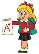 School girl with A plus grade theme - eps10 vector illustration. Stock Illustration
