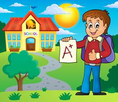 School boy with A plus grade theme - eps10 vector illustration. Stock Illustration