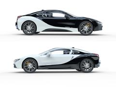 Black and white modern sports cars - side view Stock Illustration