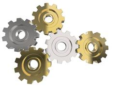 Gold and silver gears - front view - stock illustration