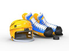 Yellow hockey helmet, blue and yellow blue hockey skates - stock illustration