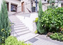 Stairway in front oh house - stock photo