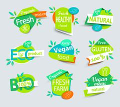 Vector set of healthy organic food labels. - stock illustration