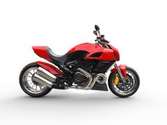 Red sports bike - studio lighting - side view Stock Illustration