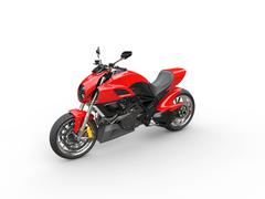 Red sports motorcycle - top perspective shot Stock Illustration