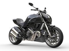 Black sports motorcycle - side view  - closeup shot Stock Illustration