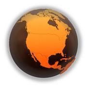 North America on chocolate Earth - stock illustration