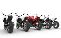 Cool motorcycles - red one stands out - back view - stock illustration