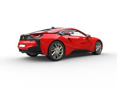 Red supercar - side rear view - stock illustration
