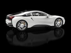 Modern white sports car - blurry reflection - side view - stock illustration